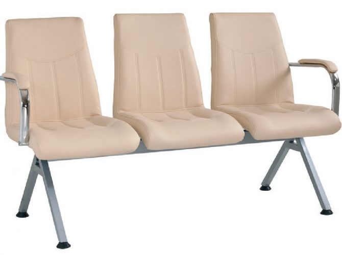 TRIPLE VISITOR CHAIR WITH ARTIFICIAL LEATHER UPHOLSTERY