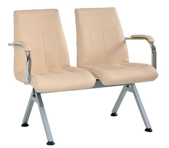 DOUBLE VISITOR CHAIR WITH ARTIFICIAL LEATHER UPHOLSTERY