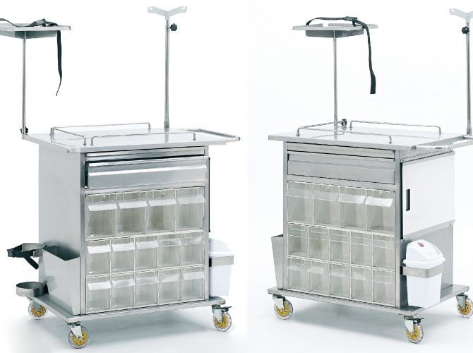 EMERGENCY AND MEDICINE-TREATMENT CART